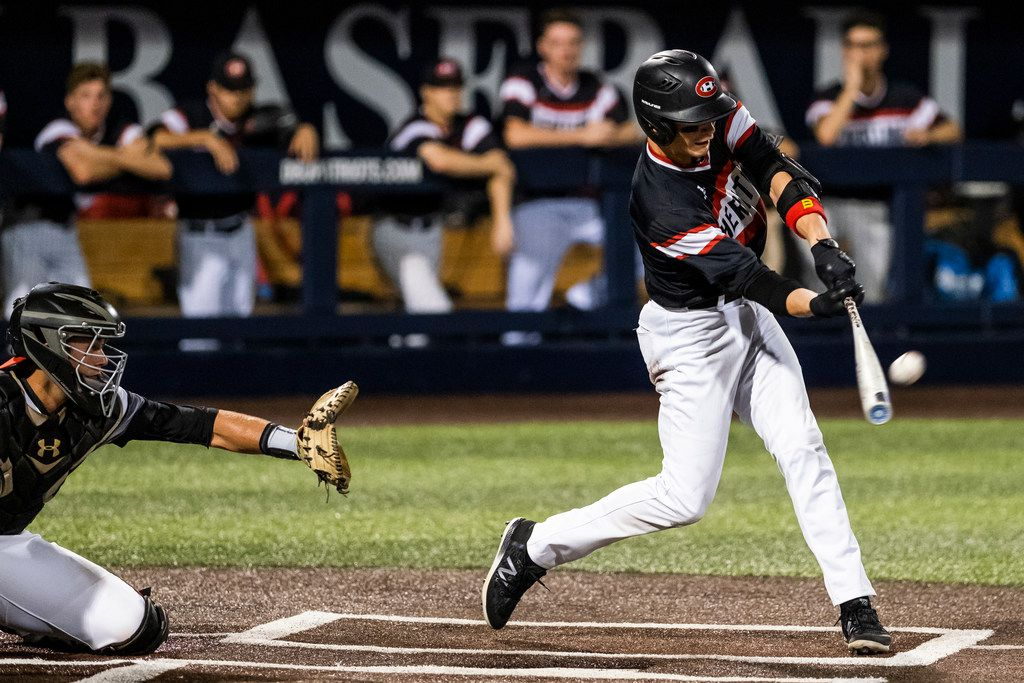 Colleyville Heritage shortstop Bobby Witt Jr. drives in a run with sacrifice fly during game one of a best-of-three Class 5A Region I quarterfinal baseball playoff series against the Mansfield Legacy at Dallas Baptist University on Thursday, May 16, 2019, in Dallas. (Smiley N. Pool/The Dallas Morning News)