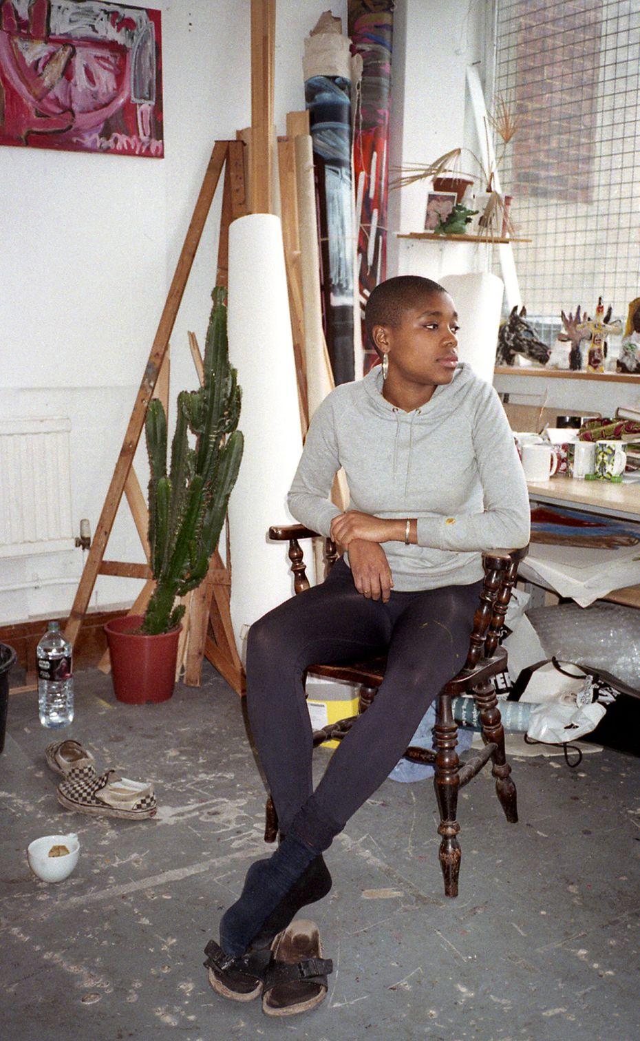 Artist Rachel Jones works out of her studio in London.