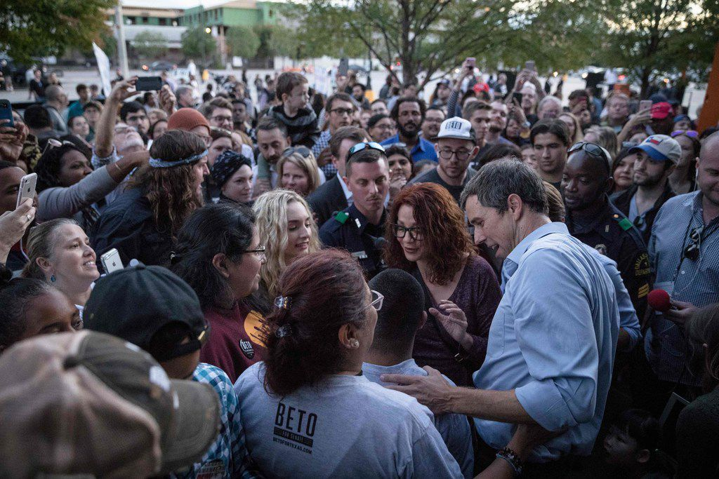 Rep. Beto O'Rourke (D-TX) greets supporters following a campaign rally in Dallas on October 20, 2018.