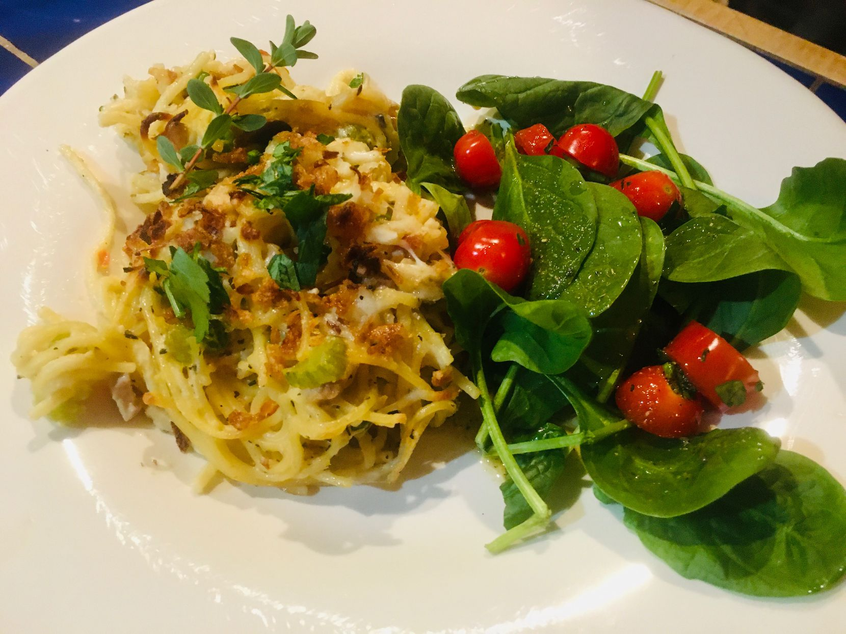 Chicken Spaghetti is June Naylor's update to a 1928 recipe from her dad's mother's 'The Woman's Club of Fort Worth Cook Book.'