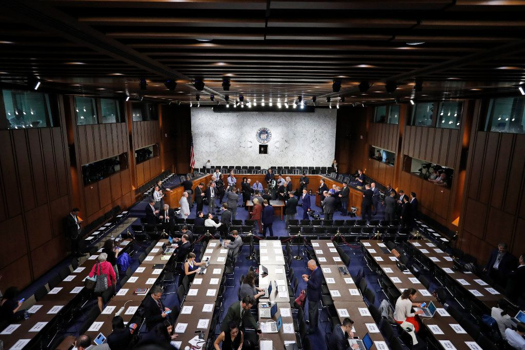 The hearing room was prepared for former FBI Director James Comey's appearance before the Senate Intelligence Committee on Thursday.