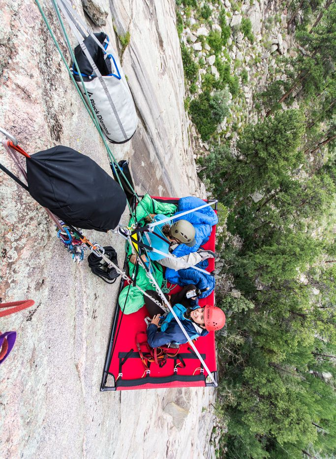 Visitors can go camping on the side of a cliff in Estes Park, Colo., just outside Rocky Mountain National Park.