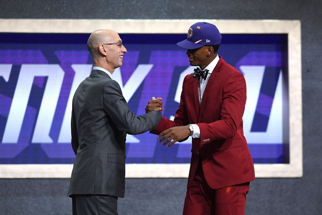 NEW YORK, NEW YORK - JUNE 20: Jarrett Culver poses with NBA Commissioner Adam Silver after being drafted with the sixth overall pick by the Phoenix Suns during the 2019 NBA Draft at the Barclays Center on June 20, 2019 in the Brooklyn borough of New York City. NOTE TO USER: User expressly acknowledges and agrees that, by downloading and or using this photograph, User is consenting to the terms and conditions of the Getty Images License Agreement. (Photo by Sarah Stier/Getty Images)