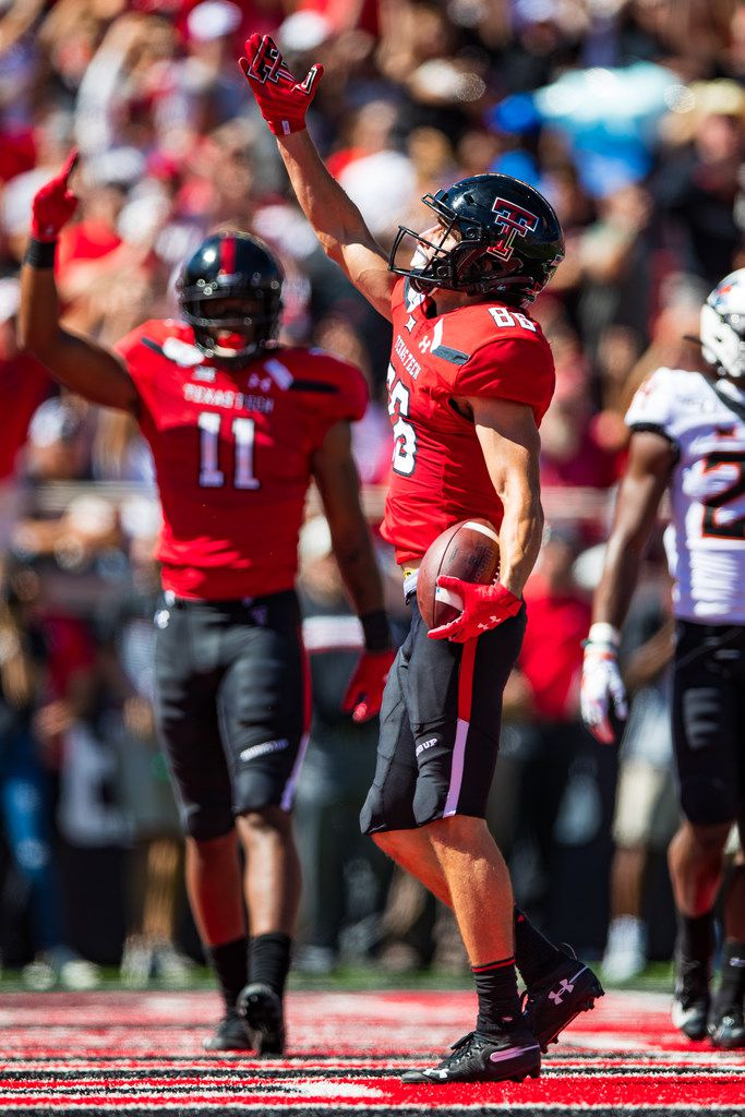 LUBBOCK, TEXAS - OCTOBER 05: Wide receiver Dalton Rigdon #86 of the Texas Tech Red Raiders celebrates after scoring a touchdown during the second half of the college football game against the Oklahoma State Cowboys on October 05, 2019 at Jones AT&T Stadium in Lubbock, Texas. (Photo by John E. Moore III/Getty Images)