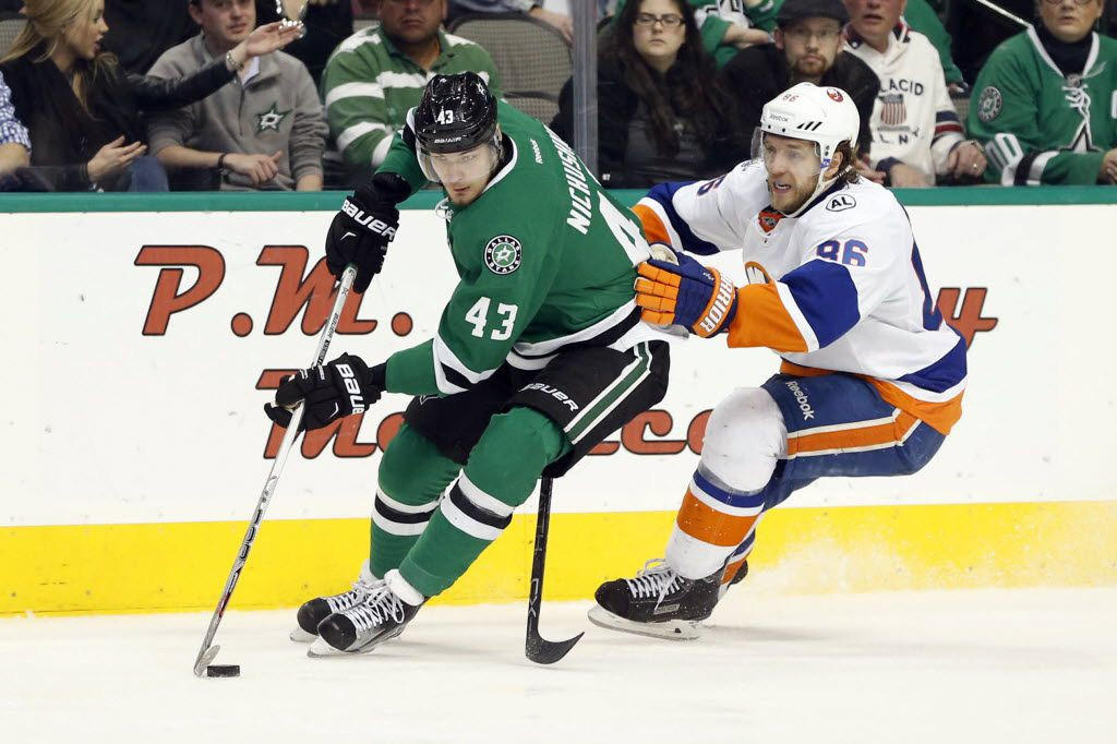 Mar 19, 2016; Dallas, TX, USA; Dallas Stars right wing Valeri Nichushkin (43) skates with the puck while defended by New York Islanders left wing Nikolay Kulemin (86) in the third period at American Airlines Center. Dallas won 3-0. Mandatory Credit: Tim Heitman-USA TODAY Sports
