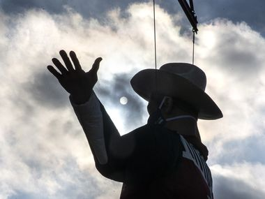 Big Tex was installed in 2020 (pictured here), even though the State Fair of Texas did not go on as planned because of the coronavirus pandemic. In 2021, the fair is planning a comeback.