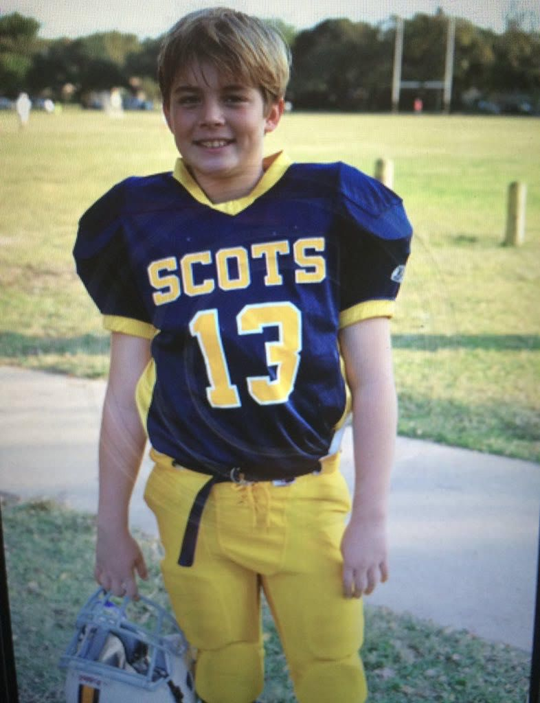 Brayden Schager is expected to be the starting quarterback at Highland Park this coming fall. Here he is as an 11-year-old wearing a Scots jersey.