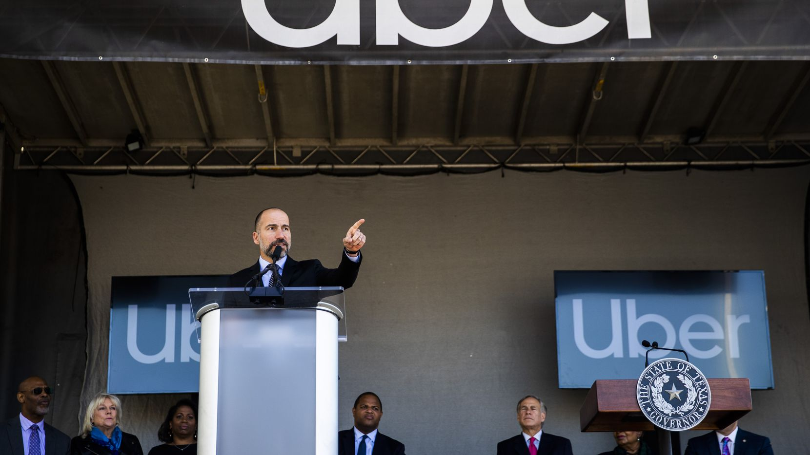 Uber CEO Dara Khosrowshahi speaks at a ground breaking ceremony for a new Uber Deep Ellum office on Friday, November 1, 2019 in Dallas. (Ashley Landis/The Dallas Morning News)