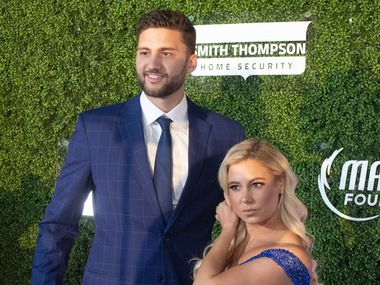 Mavs player Maxi Kleba and companion pause on the blue carpet prior to the Mavs Ball Million Air in Addison, Texas on March 7, 2020. (Robert W. Hart/Special Contributor)