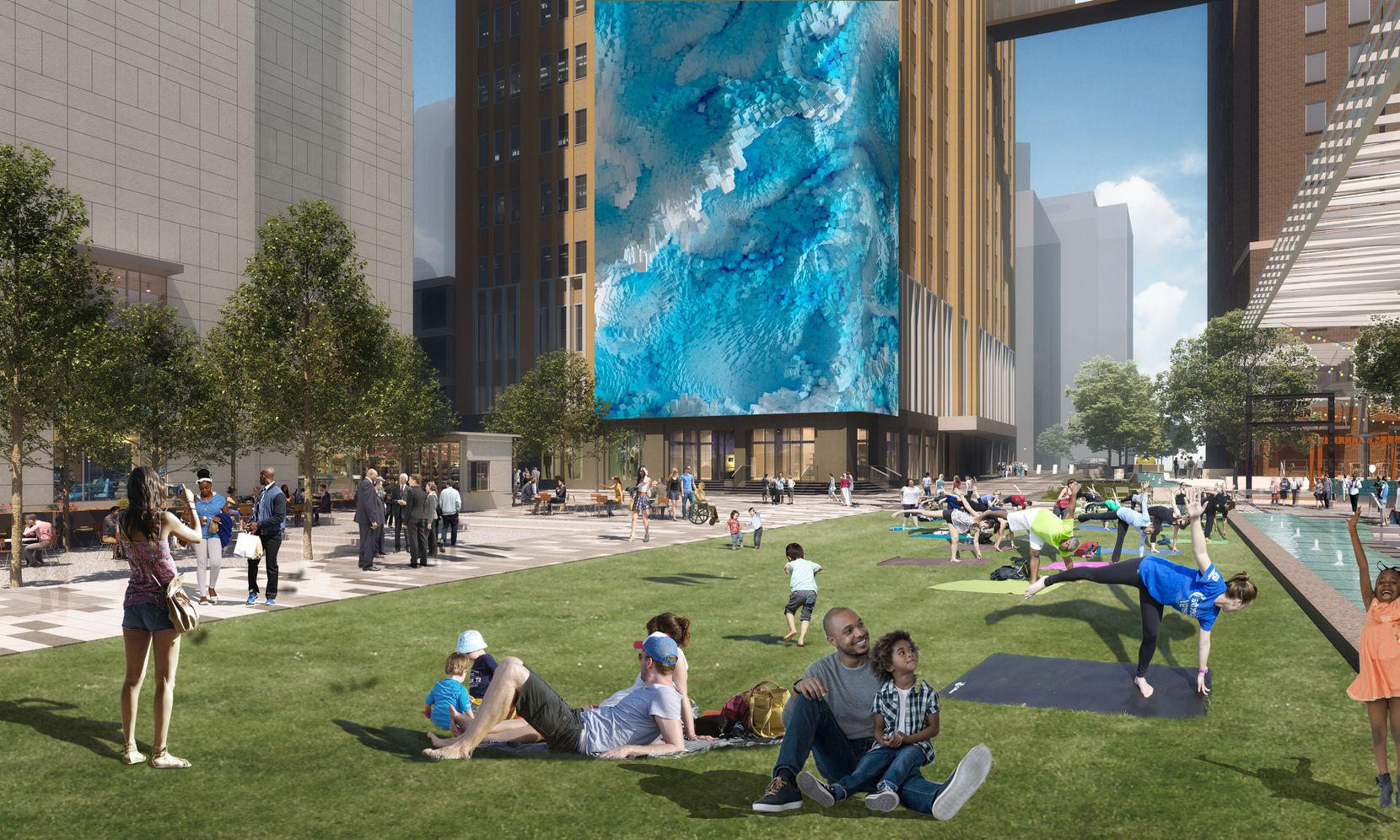 AT&T's Discovery District will include a 104-foot-tall media wall that wraps around the corner of a building.