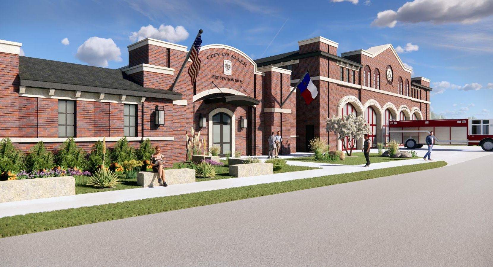 Allen's sixth fire station, pictured in this rendering, will be located on the southwest corner of Ridgeview Drive and North Watters Road.