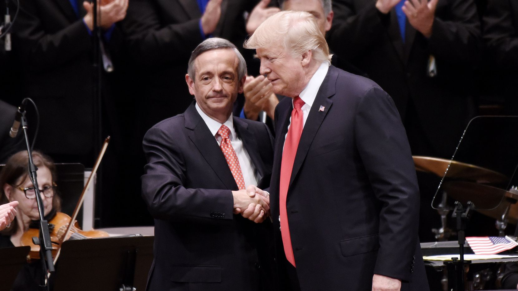President Donald Trump and Pastor Robert Jeffress, left, participate in the Celebrate Freedom Rally at the John F. Kennedy Center for the Performing Arts in Washington, D.C., on Saturday, July 1, 2017. (Olivier Douliery/Abaca Press/TNS)