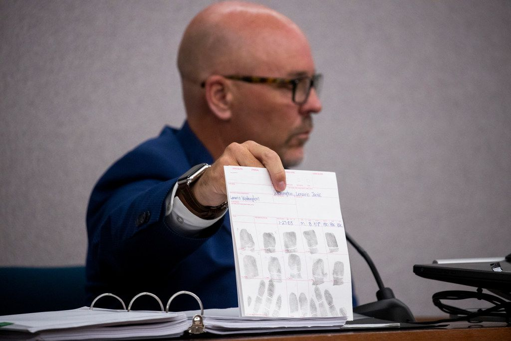 Dallas police homicide detective Scott Sayers shows evidence as he testifies during adult certification hearing at the Henry Wade Juvenile Center in Dallas on Tuesday, July 23, 2019. Lenario Washington, 16,  has been linked to four sexual assaults in Dallas and Louisiana and the deadly attack of 23-year-old Maria Ezquerro in her apartment near the Galleria in November of 2018.