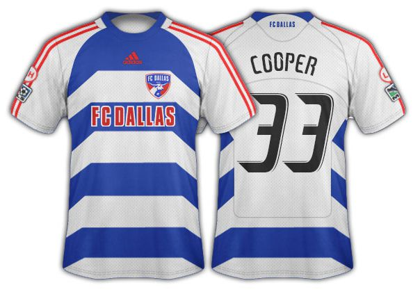 2008-09 FC Dallas blue and white hoops with angled side panels secondary.