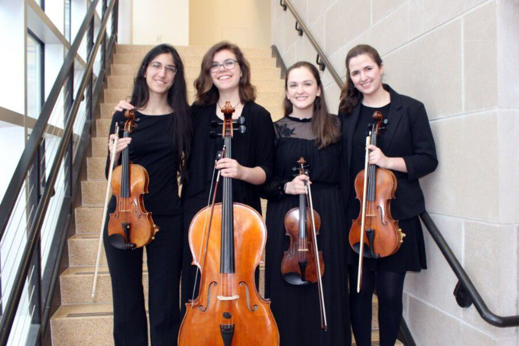 From left Maynie Bradley (violin), Hannah Kasun (cello), Anna Luebke (violin), and Rachel Riese (viola), members of the Solana Quartet.