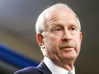 FILE - Stars GM Jim Nill gives remarks during a press conference announcing assistant coach Rick Bowness as the Stars' new interim head coach on Tuesday, Dec. 10, 2019, at American Airline Center in Dallas.