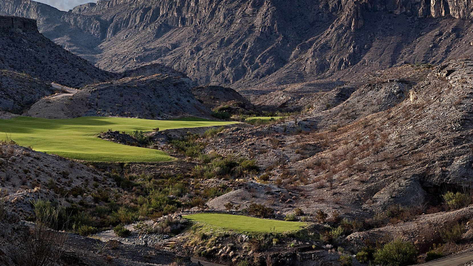 The 438-yard par-4 No. 6 at Black Jack's Crossing Golf Course at Lajitas is one of the signature holes.  (Photo by D Squared Productions)