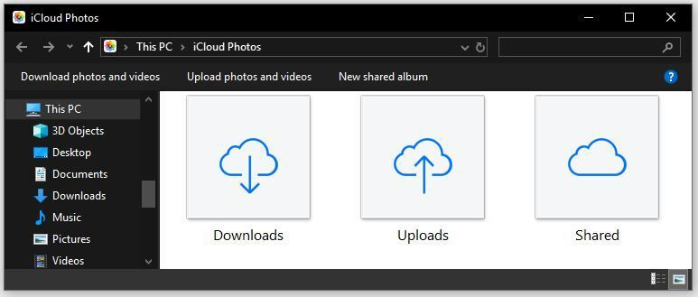 The iCloud Photos options in Windows 10.