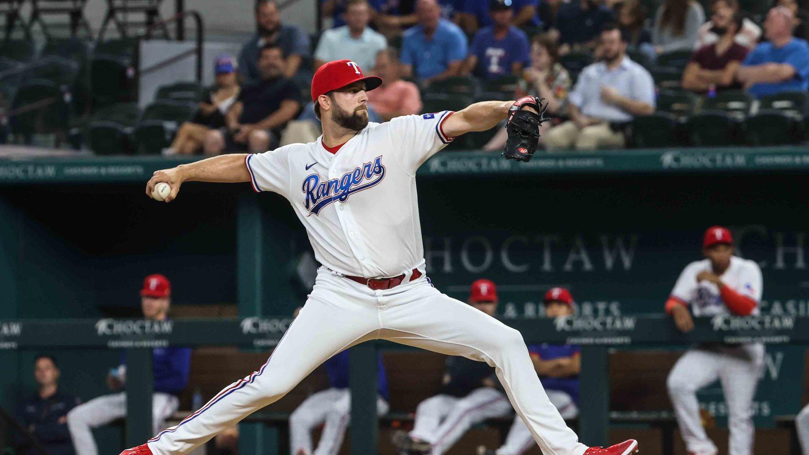 Jordan Lyles (24) pitches during Arizona Diamondbacks at Texas Rangers game at the Globe Life Field in Arlington, Texas on Wednesday, July 28, 2021.