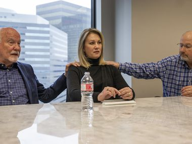 Cliff Harris (from left), his wife, Karen Harris, and her brother, David Nelson recount the details surrounding the 2018 death of the siblings' mother, Miriam Nelson, at Preston Place Retirement Community during a meeting at Dallas attorney Trey Crawford's downtown office. Miriam Nelson is believed to be a victim of serial murder suspect Billy Chemirmir, new lawsuits state.