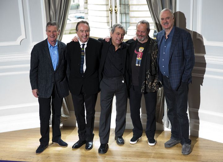 The surviving members of Monty Python comedy group -- from left, Michael Palin, Eric Idle, Terry Jones, Terry Gilliam and John Cleese -- in a London hotel room 2013.