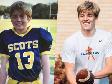Brayden Schager as an 11-year-old (left) and as an incoming senior in high school.