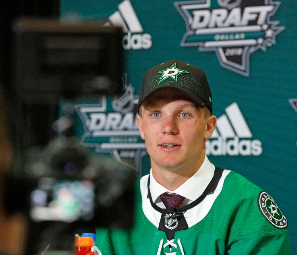FILE - Dallas Stars first round draft pick Ty Dellandrea talks with the media after being selected with the Dallas Stars first draft pick at the 2018 National Hockey League draft held at the American Airlines Center in Dallas on Friday, June 22, 2018. (Louis DeLuca/The Dallas Morning News)