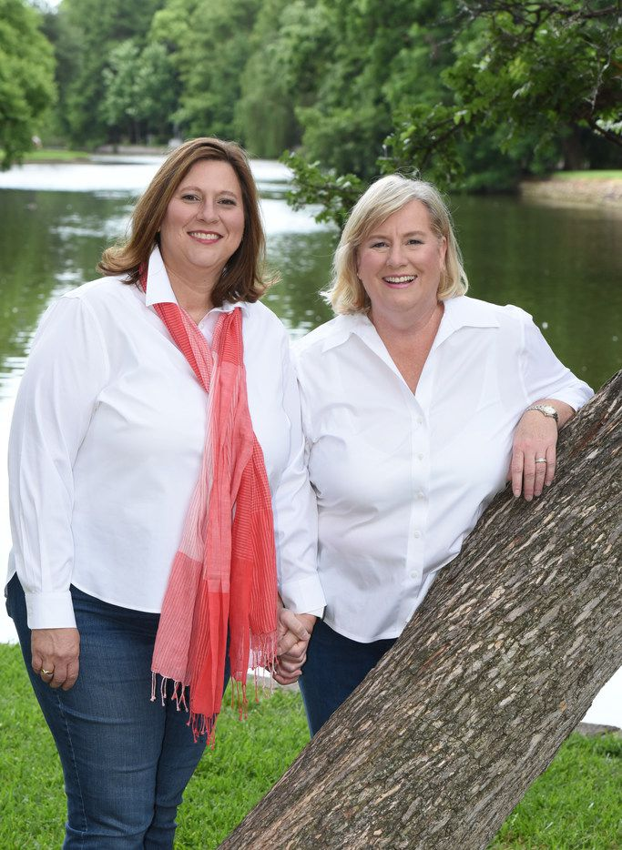 State Rep.-elect Julie Johnson (left) with her wife, Susan Moster. In November, Moster became the first same-sex spouse in the Legislative Ladies Club, a social group for the spouses of Texas House members. Despite its name, the group also includes male spouses.