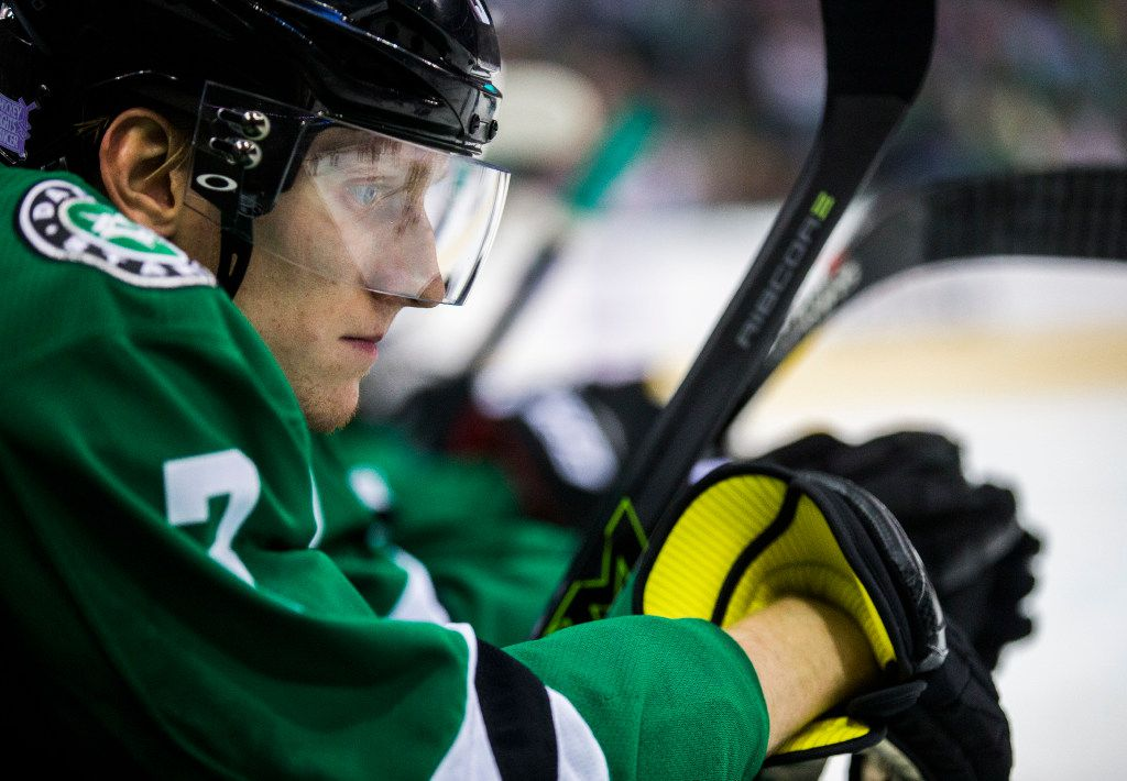 Dallas Stars defenseman John Klingberg (3) watches from the bench during the third period of their game against St. Louis Blues on Thursday, November 3, 2016 at the American Airlines Center in Dallas. (Ashley Landis/The Dallas Morning News)