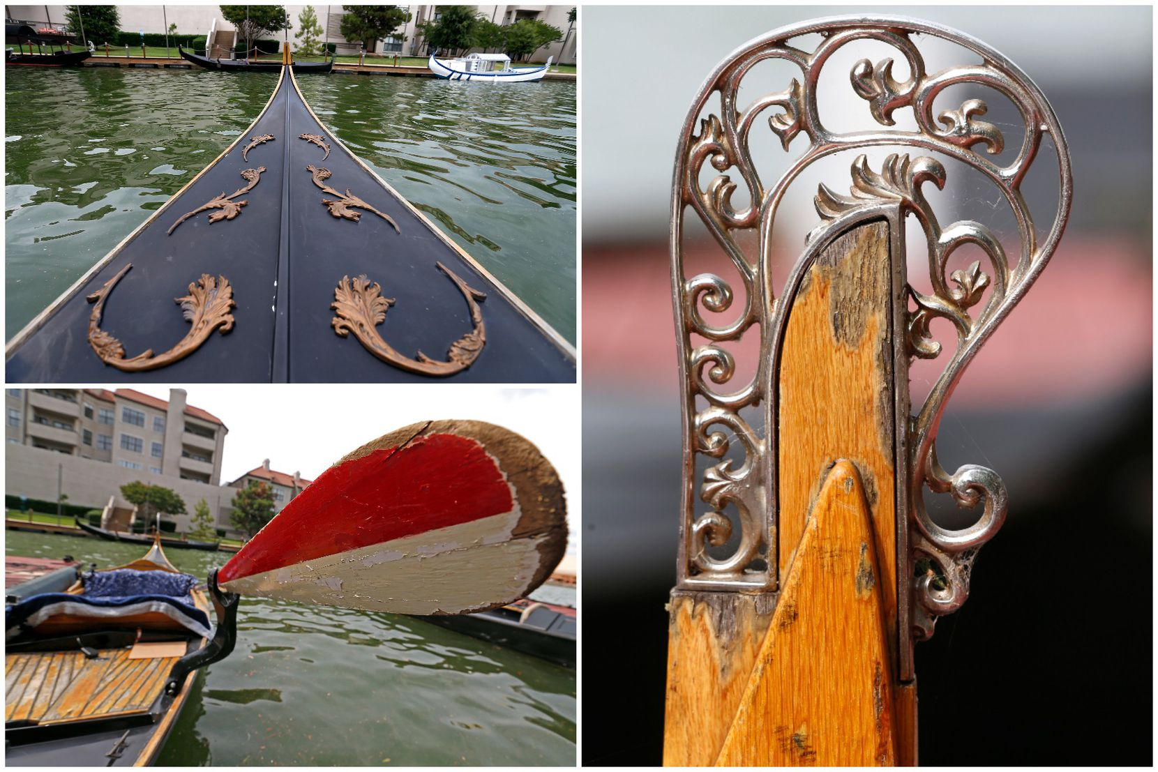 Closeup views of the bow, tail and oar of a gondola on Lake Carolyn in Irving, Texas.