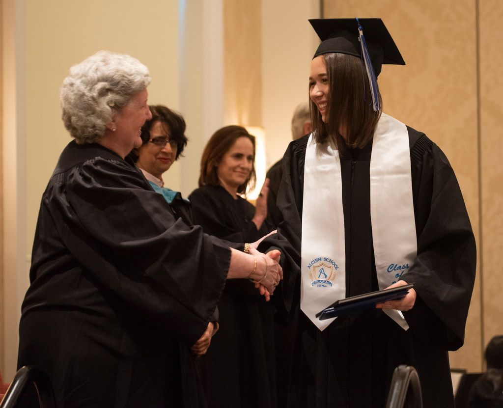 Aliya Swanger, student council president of the Alcuin School, was one of 10 from the Alcuin School's first graduating class to graduate at the Belo Mansion on Thursday, May 24, 2018.
