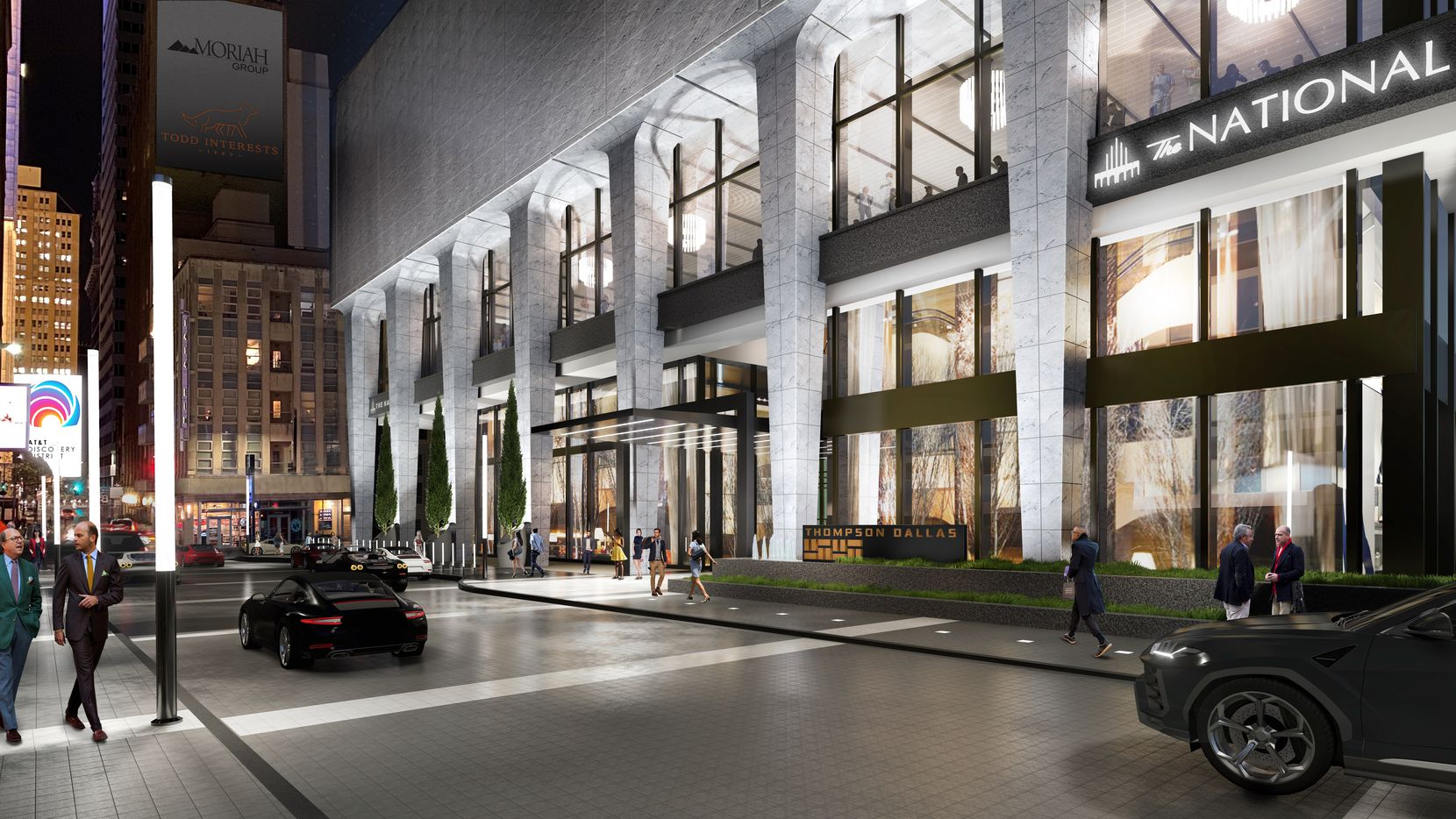 An architects' rendering shows the Akard Street entry to The National building in downtown Dallas.