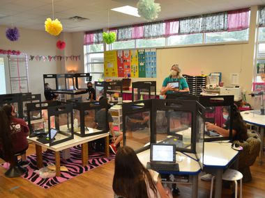 Teacher Lauren Martinez speaks to her fifth grade students at Northwood Hills Elementary School in the Richardson ISD in this courtesy photo.