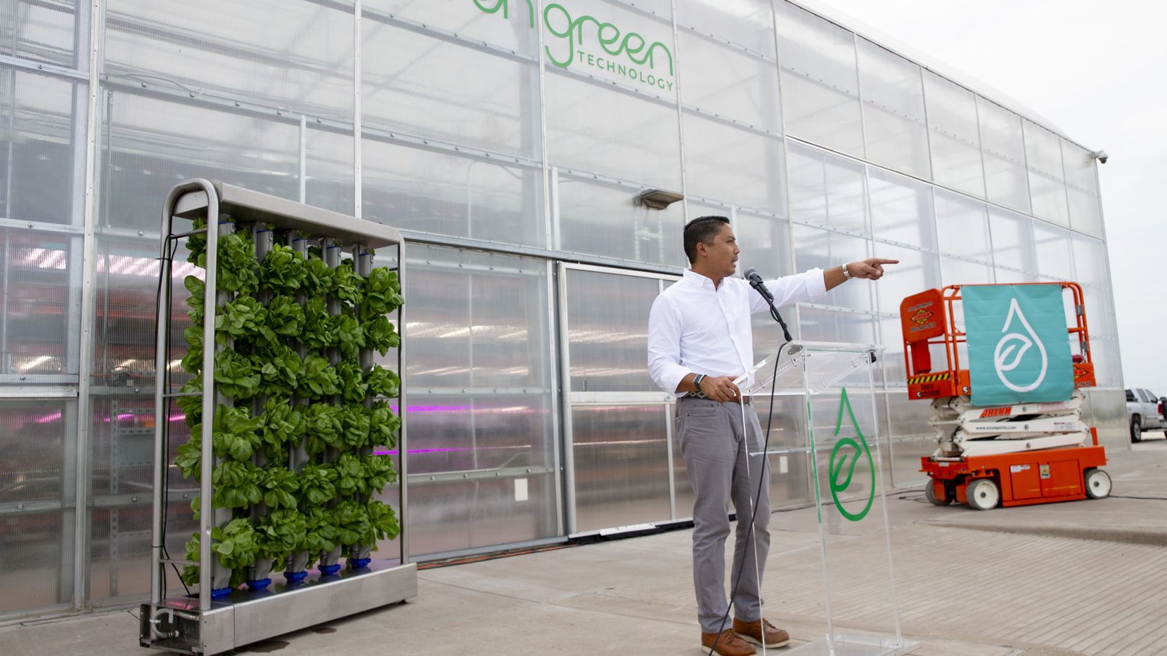 Eden Green CEO Eddy Badrina speaks during the groundbreaking for the company's new commercial greenhouse.