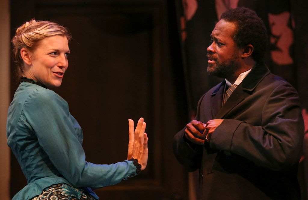 Kate Paulsen as Nora Helmer and Sam Henderson as Torvald Helmer in WaterTower Theatre's new adaptation of A Doll's House at Addison Theatre Centre.
