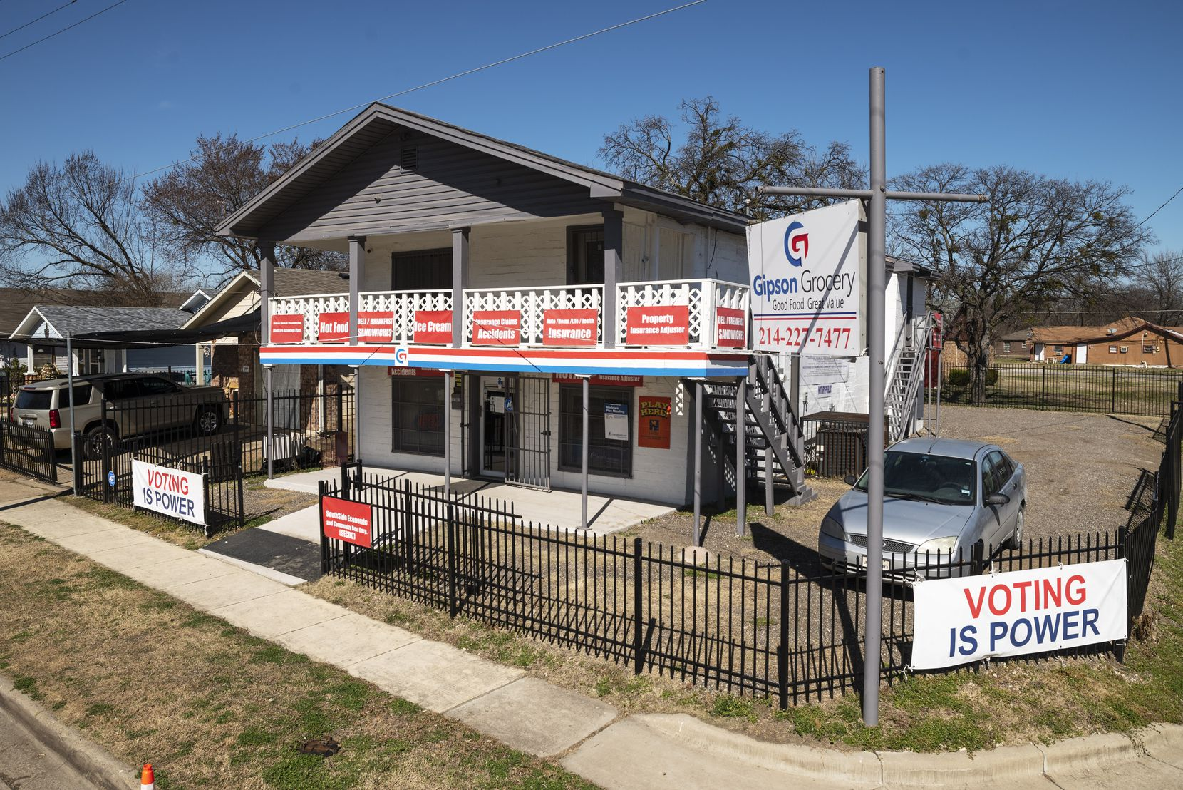 The outside of Gipson Grocery in Dallas, on Tuesday, Feb. 23, 2021. The small neighborhood grocery store is one of the longest-running Black-owned grocery stores in North Texas and the nation.