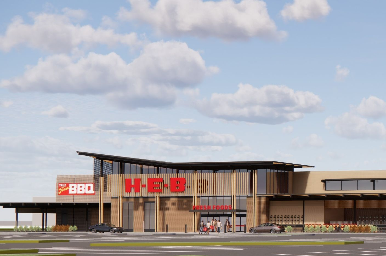 Una imagen digital de la tienda de H-E-B que se planea abrir en Frisco en 2022. La compañía anuncia esta semana que planea abrir un tercer supermercado en McKinney.