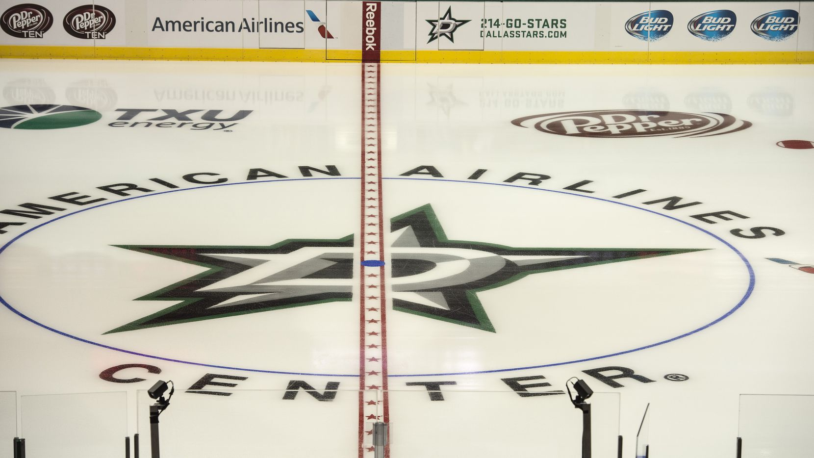 Sep 15, 2013; Dallas, TX, USA; A view of the ice with the new Dallas Stars logo before the game between the Stars and the St. Louis Blues during the game at American Airlines Center. Mandatory Credit: Jerome Miron-USA TODAY Sports