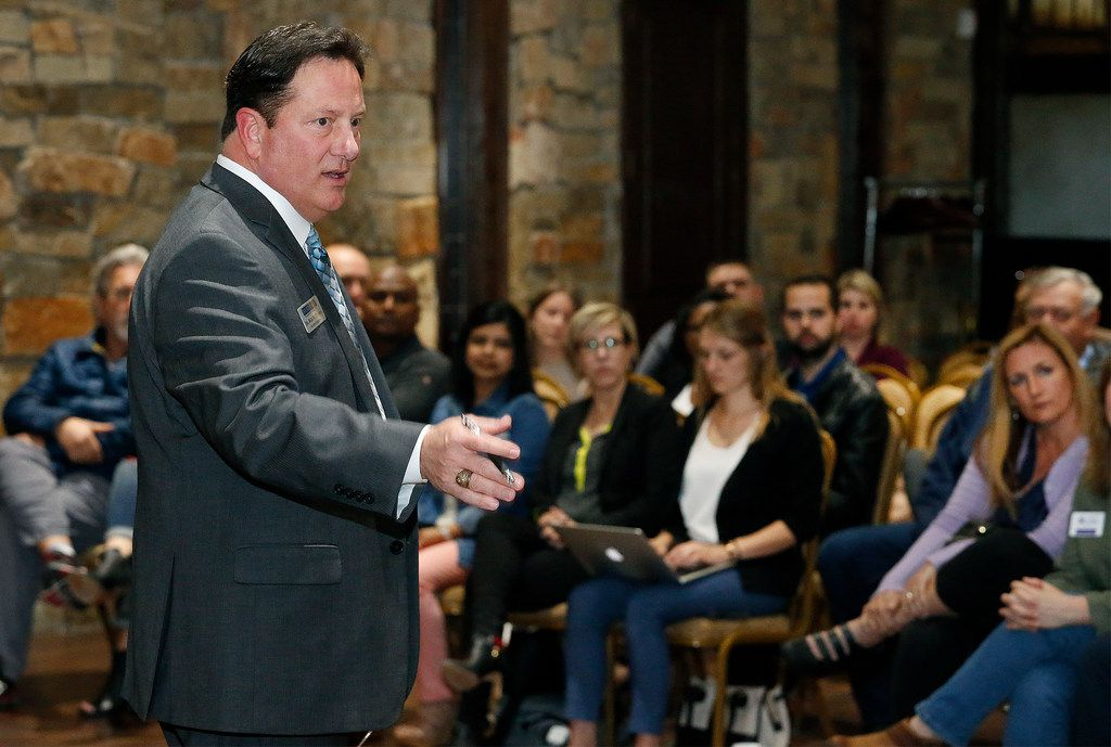 Rick McDaniel, McKinney ISD superintendent, addresses the audience at a town hall on school safety on April 4 in McKinney.