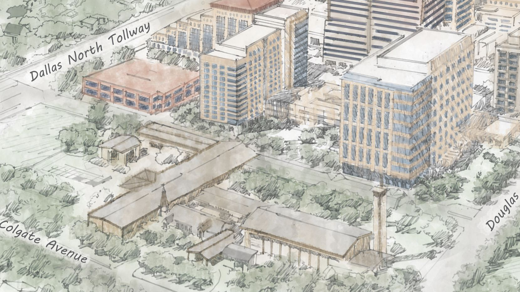 A new office building, center right, and a residential tower, on the left, are planned for the Saint Michael and All Angels Church project in Preston Center. The church is in the lower portion of the drawing at Colgate and Douglas.