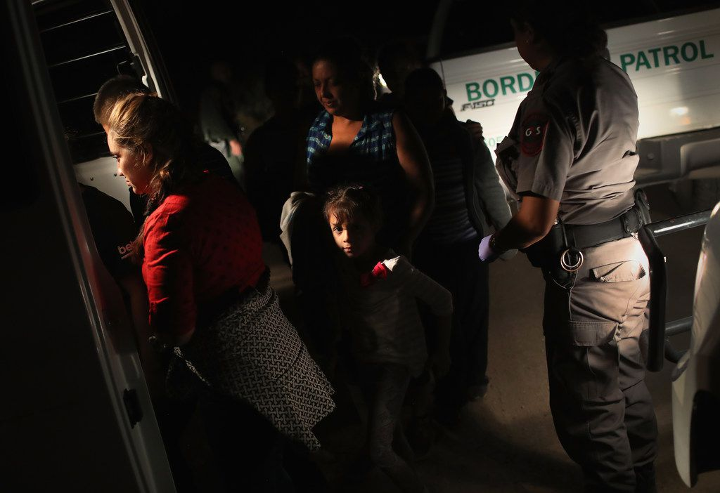 The group of women and children had rafted across the Rio Grande from Mexico and were detained before being sent to a processing center for possible separation.