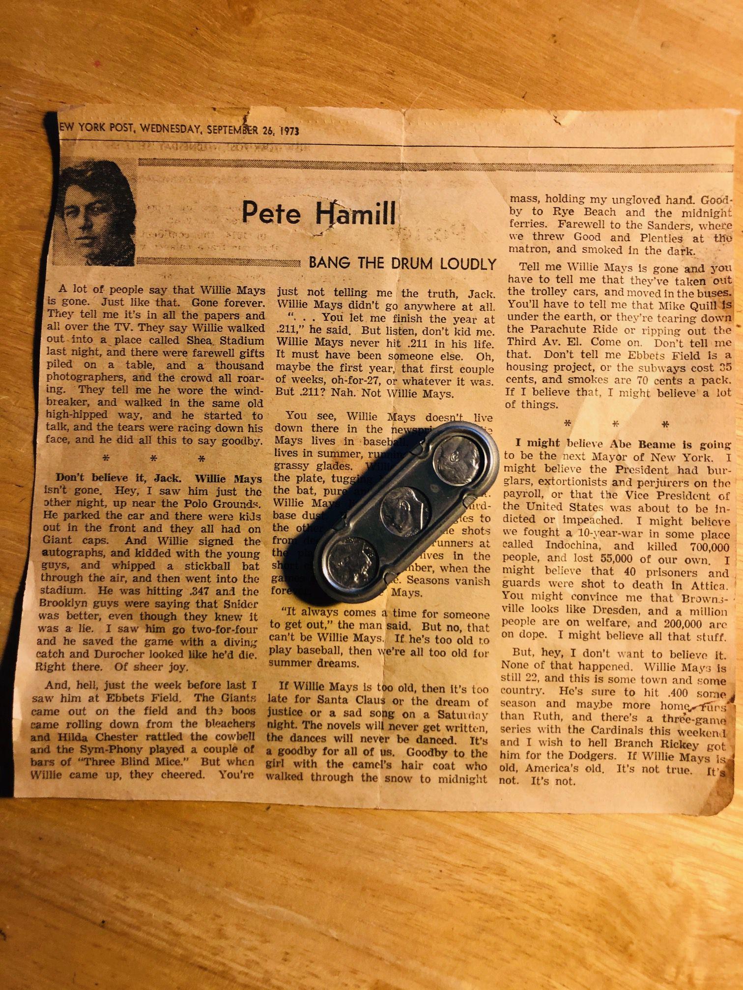 Watchdog columnist Dave Lieber says this dime holder, owned by his late father, represents his start on a career in journalism. Dave's father would slide a dime out and order Dave to go out and get the final edition of the New York Post. That's how Dave discovered Pete Hamill and journalism.