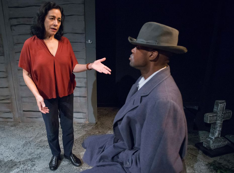 "Actor J.R. Bradford gets direction from Cora Cardona in an original Teatro Dallas play, ""An Evening With Two Giants,"" during a Sept. 29 rehearsal."