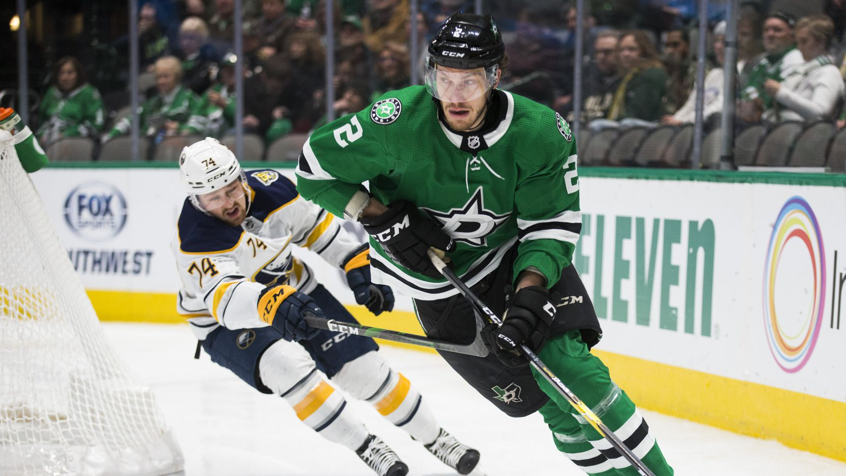Dallas Stars defenseman Jamie Oleksiak (2)  during an NHL game between the Dallas Stars and the Buffalo Sabres on Thursday, January 16, 2020 at the American Airlines Center in Dallas.