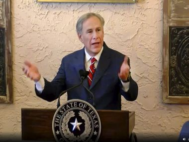 Texas Governor Greg Abbott delivers a speech  at a Lubbock restaurant, Tuesday, March 2, 2021. Coming up on the one-year anniversary of the COVID-19 pandemic, Abbott announced reopening the State of Texas to all businesses. (video via KXAS Dallas)