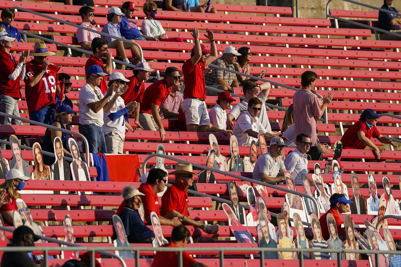 SMU fans cheer their defense during the second half of an NCAA football game against Memphis at Ford Stadium on Saturday, Oct. 3, 2020, in Dallas.