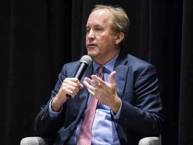 Texas Attorney General Ken Paxton is pictured on Wednesday, February 26, 2020 at The Dallas Morning News Auditorium in Dallas. Several top employees have accused the Republican of serious crimes. Paxton says the allegations are false and has pointed the finger back at his accusers. (Ashley Landis/The Dallas Morning News)