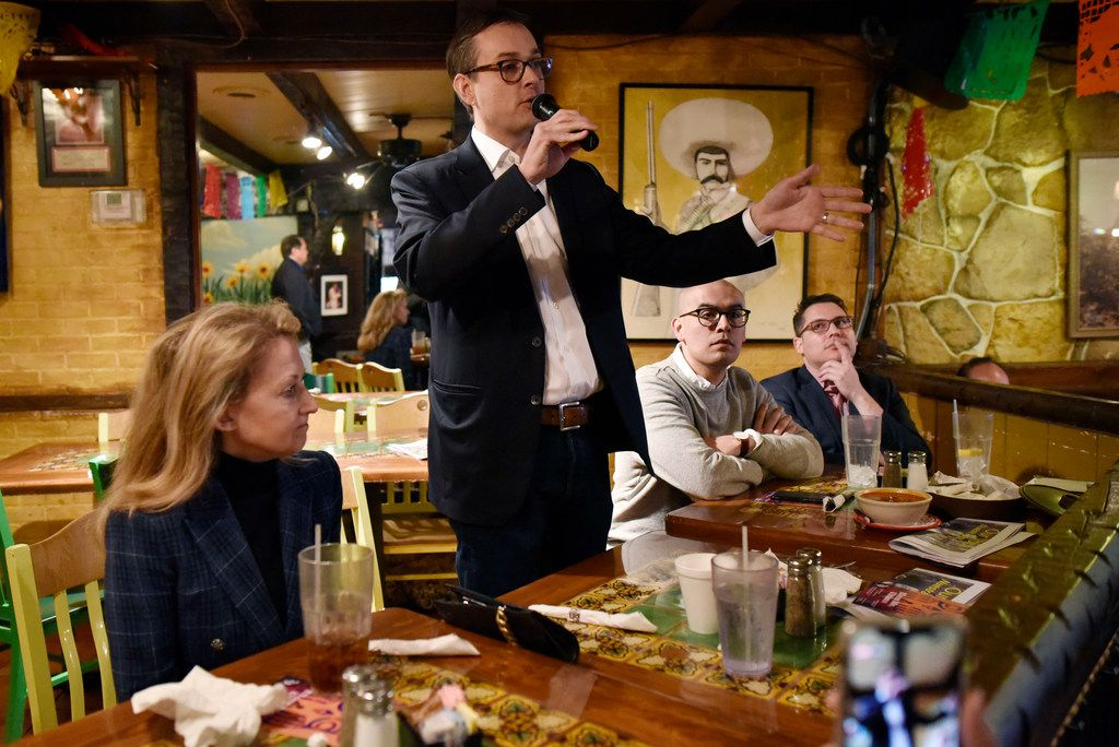 Dallas Mayoral candidate Scott Griggs spoke earlier this month at a community event Chorizo and Menudo at El Ranchito restaurant in Dallas.
