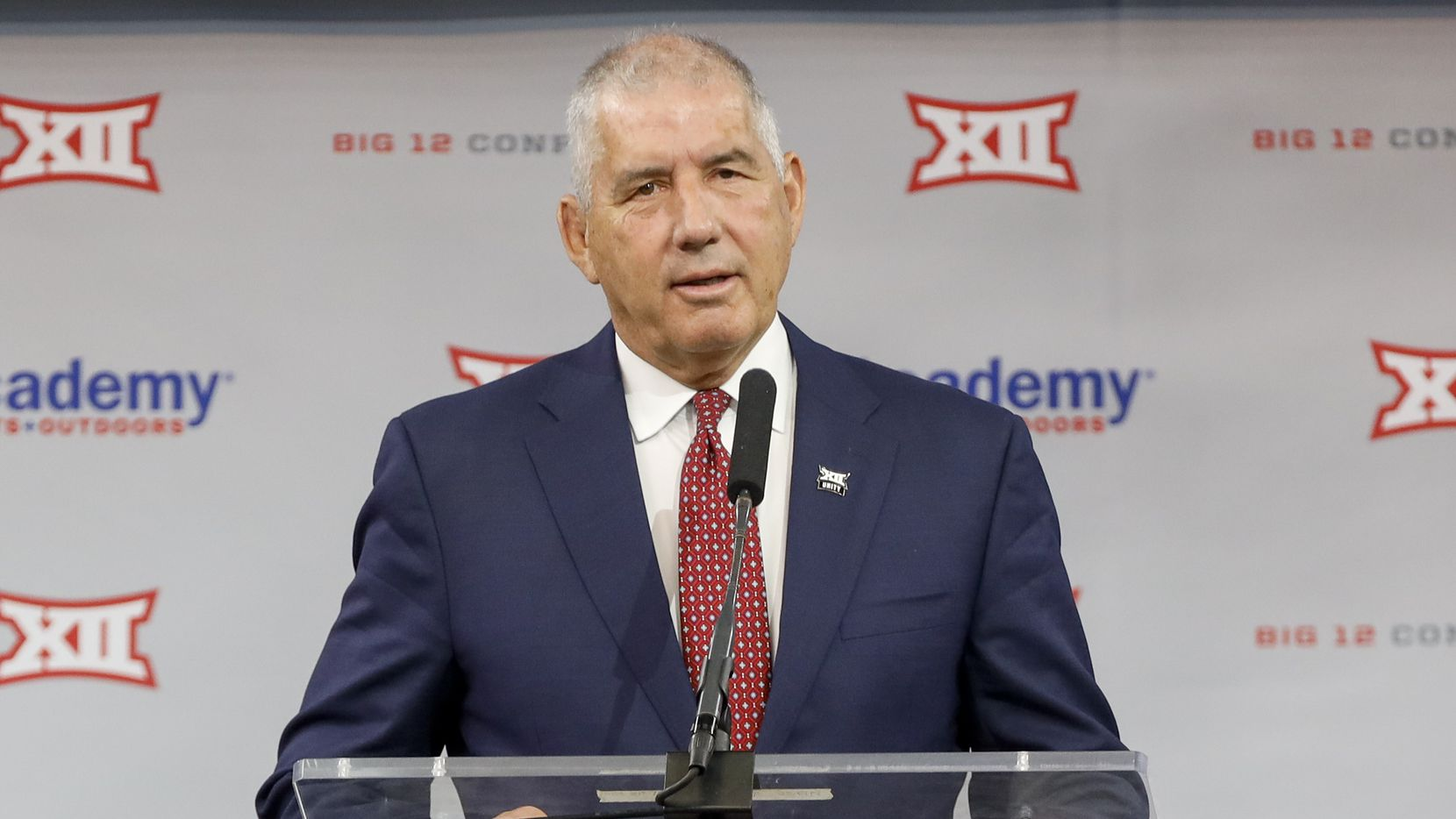 Big 12 Conference commissioner Bob Bowlsby speaks during the Big 12 Conference Media Days at AT&T Stadium on Wednesday, July 14, 2021, in Arlington. (Elias Valverde II/The Dallas Morning News)