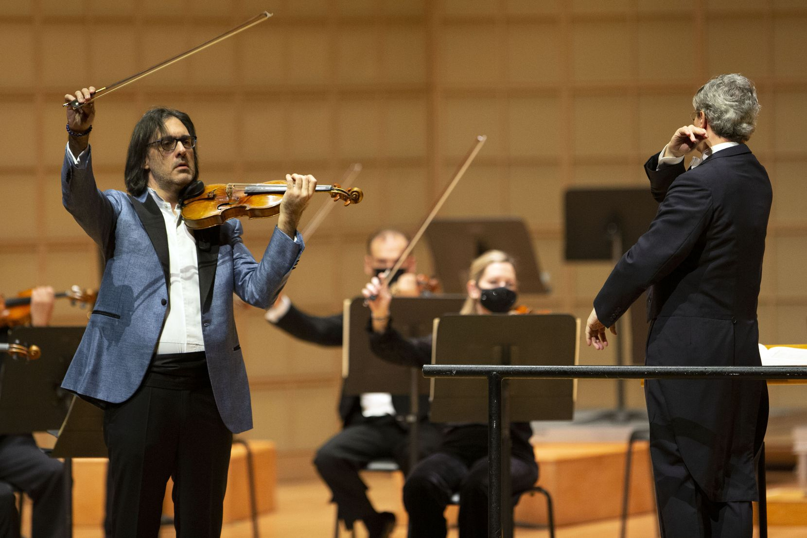 Violin soloist Leonidas Kavakos performs with music director Fabio Luisi and the Dallas Symphony Orchestra at the Meyerson Symphony Center.